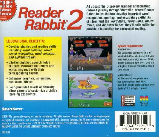 Reader Rabbit 2 PC MAC CD Learn To Read Words Phonics